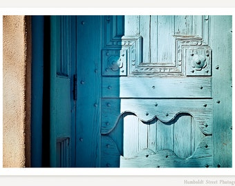 Blue Door - Turquoise Color Photograph - New Mexico Photography - Door Photo - Southwestern Art Print - Blue Door Photograph