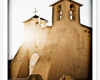 Land Of Enchantment - New Mexico Travel Photography - Adobe Church Photo - Taos - Southwestern Art Print