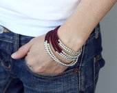 Maroon Red Beaded Wrap Bracelet Necklace Anklet