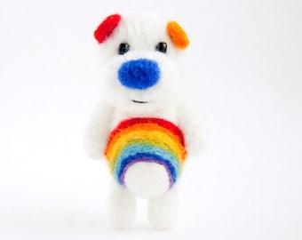 Rainbow needle felted miniature white pocket artist bear
