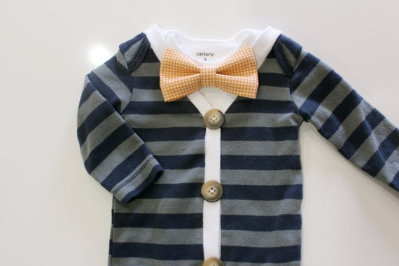 Blue Baby Cardigan Outfit with Bow Tie. Baby Boy Outfit.  Short sleeve preppy trendy blue striped orange gingham tie