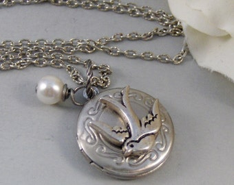 Gypsy Songbird,Locket,Silver Locket,Bird,Sparrow,Peal,Bird Locket,Antique Locket,Steampunk. Handmade jewelry by valleygirldesigns.