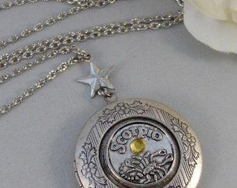 Antique Birthstone Horoscope,Locket,Birthstone,Antique Locket,Silver Locket,Horoscope,Personalize,Handmade jewelry by valleygirldesigns
