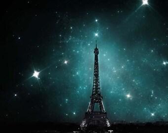 Eiffel Tower Print, Dark Blue, Paris Print, Eiffel Tower and Stars, Paris at Night, Paris Decor, Bedroom Wall Art