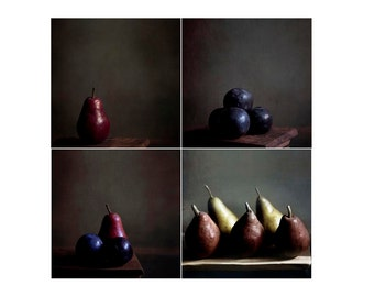 SALE, Food Photography, Fruit, Rustic Kitchen Decor, Dark Brown, Set of 4 Prints, Pears, Plums, Food Photos