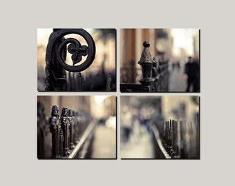 SALE, Paris Prints, Brown, Black, Beige, Neutral, Rustic, Set of 4 Prints, Fences, Travel, 4 Photo Set, Architecture