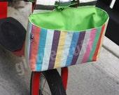 Modern Rainbow Kid Bike Bag with Bright Green Lining, Girl Handlebar Basket -- Custom Order