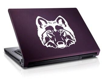 """Wolf Head Decal / Wolf Laptop Sticker / Wolf Laptop Decal / Wolf Car Sticker / Wolf Macbook Decal / Wolf Sticker / 5.25""""h x 5.75""""w / #106"""