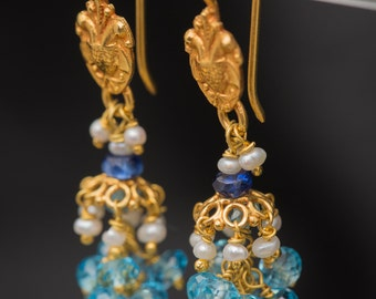 18K Solid Gold Dangle Earrings with Floral Motif, Lapis, Topaz, Pearls
