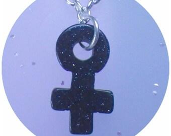 Blue Goldstone Sandstone  Female venus symbol necklace