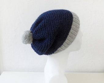 Dark Blue Slouchy Hat with Pom Pom, Alpaca Hat, Blue Gray