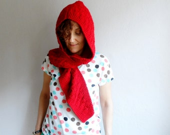 Knit Hood in Red, Hooded Scarf Cowl, Wool Chunky Hood Neckwarmer