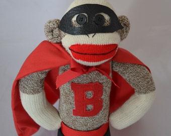 Super Hero Sock Monkey, Choose Color or Superhero Sock Monkey Cape and Personalization
