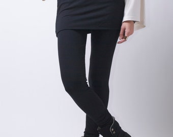 Extra Long Leggings/ Womens Tights/ Yoga Pants with an Attached Skirt/ Fold Over - MP026