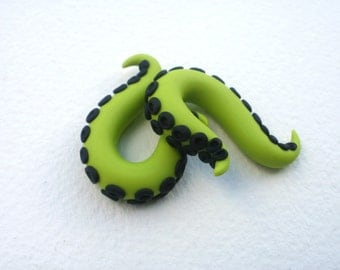 Evil Lime Tentacle Gauge Earring - 2, 0 gauge - Black -Chartreuse- Small Octopus Gauged Piercing