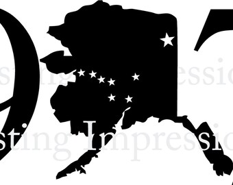 ALASKA 907 State Vinyl Decal Wall Lettering Words Quotes Decals Art Custom Car Window