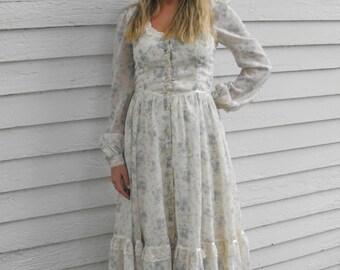 Vintage 70s Gunne Sax Dress Prairie Floral XS 7