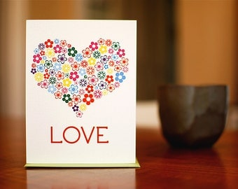 Floral Heart I Love You Card on 100% Recycled Paper