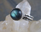 Teal Blue Labradorite - Hammered and Oxidized Sterling Ring sz 6