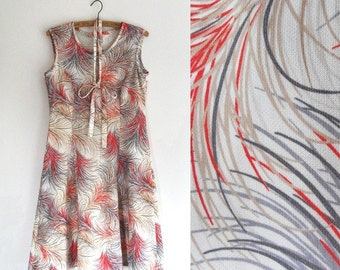 Vintage Dress - Ostrich Feather Print - Rustic, Fall Colors - Handmade - Medium/Small