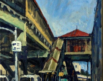 Uptown Geometry, 215th Street Station, NYC. 8x10 New York City Oil Painting on Canvas, Small Impressionist Fine Art, Signed Original