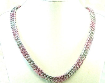 Chainmaille Jewellery, Half Persian, Pink and Silver Necklace