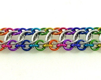 Chainmail Jewelery, Zeela Bracelet, On The Edge, Rainbow Anodized Aluminum Chainmaille