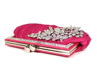 Fuchsia Clutch, Bridal Clutch, Bridesmaids Clutch, Evening Bag, Wedding Accessories, Bridal Accessories
