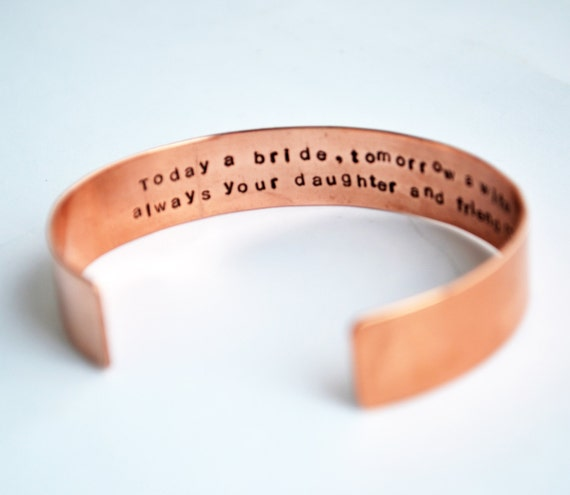 Personalized Copper Cuff Bracelet, Hand Stamped Jewelry, Custom, Hidden Message, Wedding, Keepsake, Mother,