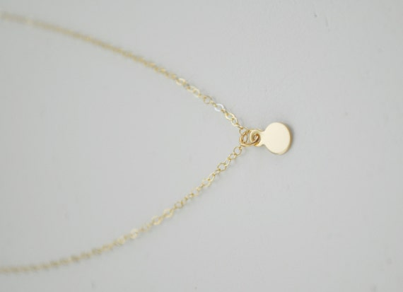 tiny gold dot necklace solid 14k gold small circle