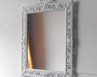 Large White Mirror, 21 by 15 Inch Vintage Brass Decorative Frame, Small Bathroom, Vanity, Nursery, Baroque, Paris Chic Mirror