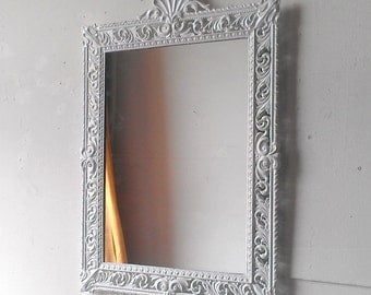 Large White Mirror, 21 by 15 Inch Vintage Italy Brass Decorative Frame, Small Bathroom, Vanity, Nursery, Baroque, Paris Chic Mirror