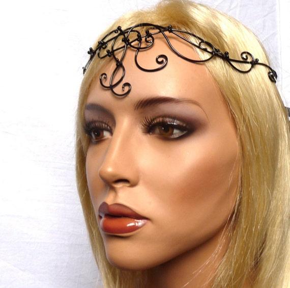Black beaded circlet, womens, accessories, headband, handmade