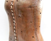RESERVED for Bruce // antique leather lace up corset // Victorian // primitive medical device // display mannequin