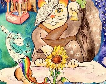 China Cat Sunflower Print
