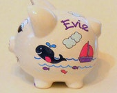 Personalized Piggy Bank Navy Blue Whales with Hot Pink  and Purple Sailboats, Fish and Ocean