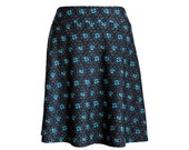 "Brown and Turquoise Funky Print Travel Skirt, ""Centered"" Skirt"