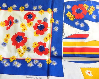 Vintage 60s Mod Kitchen Tea Towel Oven Mitt and Apron Kit Red flowers by Georgia - on sale