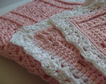 baby blanket crochet pink handmade crochet pink baby blanket with a white border-baby crochet  blanket pink and white
