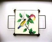 SALE vintage 50s Sweet Birdy Plum Branch Hand Painted Mid Century tile Trivet with black metal caddy