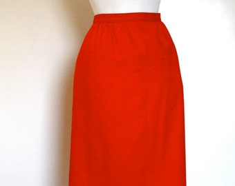Vintage Pendleton Ruby Red Wrap Skirt // Made in USA // 1960s