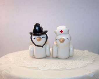 Firefighter and Nurse Wedding Cake Topper Love Birds Cake Topper- Custom Small - Choice of Colors
