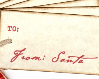 Christmas Gift Tags, From Santa Christmas Package Gift Tag Labels, Santa Signature Tags, Vintage Style - Set Of 6