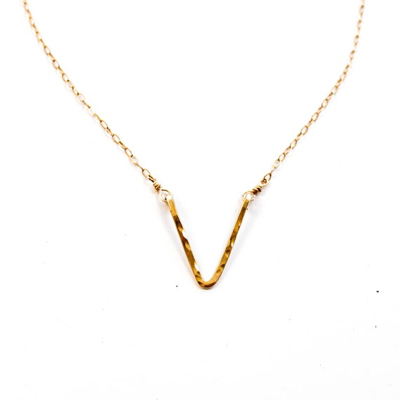 V Necklace - V Shaped Necklace / Chevron 14k Gold Fill, Rose Gold Fill or Sterling Silver Chain Necklace / Dainty Chain V Necklace