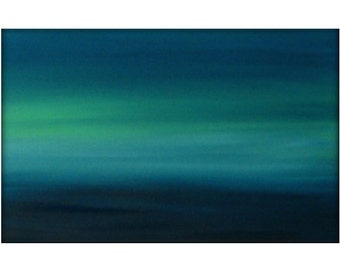 Large Original Abstract Canvas Contemporary/Modern Painting  - 24x36 - Blue-Greens, Baby blue, and more
