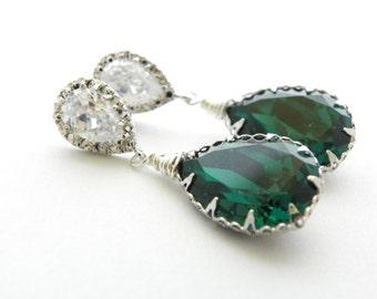 Emerald Swarovski Earrings, Maid Of Honor Gift, Drop Wedding Earring, Art Deco Wedding Earring Green Statement Wedding Earring Bridal Earing