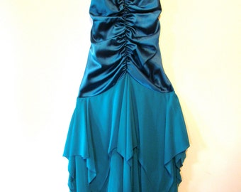 Vintage 80s / Teal Blue / Spaghetti Strap / Gathered / Cocktail / Party / Evening Dress / EXTRA SMALL