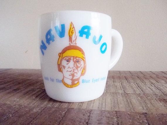 SALE Vintage Milkglass Navajo Freight Lines Mug