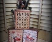 Set of 3 Vintage Holiday Christmas Wood Blocks featuring Santa Print Air Mail Postcards and Santa HaFair OFG CIJ, TeamVintageUSA,