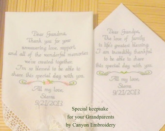 Grandma Grandpa Gift Embroidered Wedding Hankerchiefs Grandparents Wonderful Memories by Canyon Embroidery